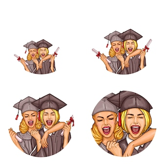 Vector girls graduation party pop art avatar icons
