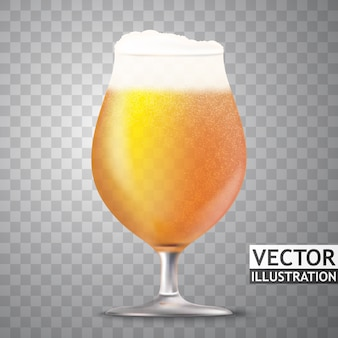 Vector glass of bear with wheat ears illustration isolated