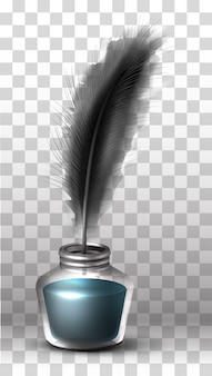 Vector glass bottle of ink and black feather
