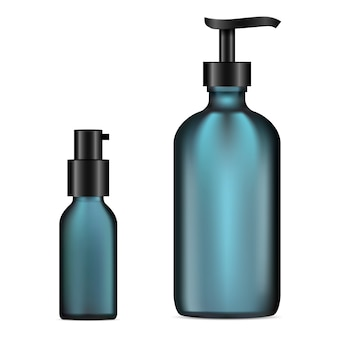 Vector glass cosmetic bottle set.