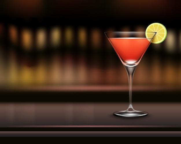 Vector glass of cosmopolitan cocktail garnished with slice of lime on bar counter and blur brown background