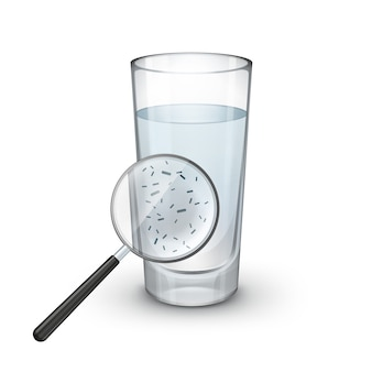 Вектор стакан воды с лупой и микроскопическими бактериями на белом фоне