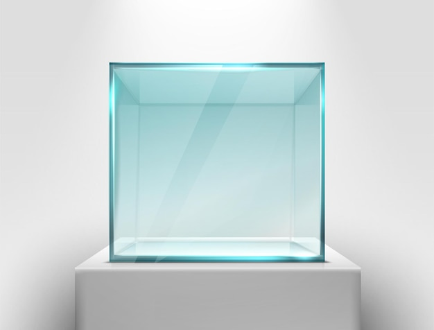 Vector glass square showcase on a white stand for presentation
