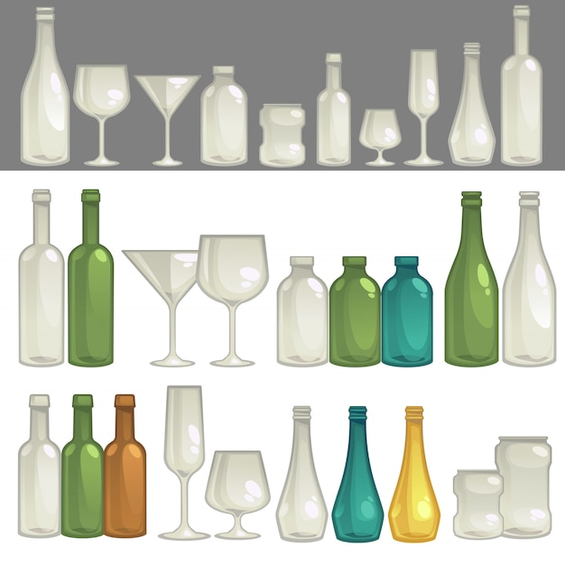 Vector glasses and bottles for drink.