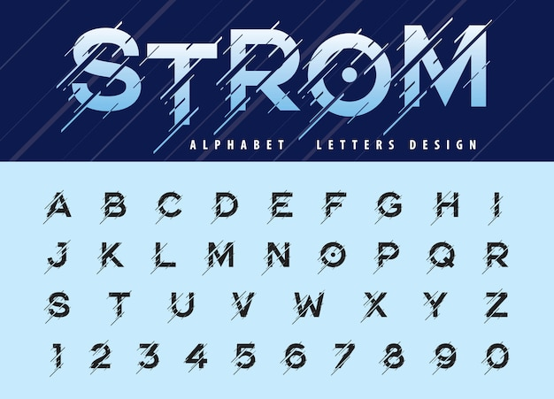 Vector of glitch modern alphabet letters and numbers, moving storm stylized fonts