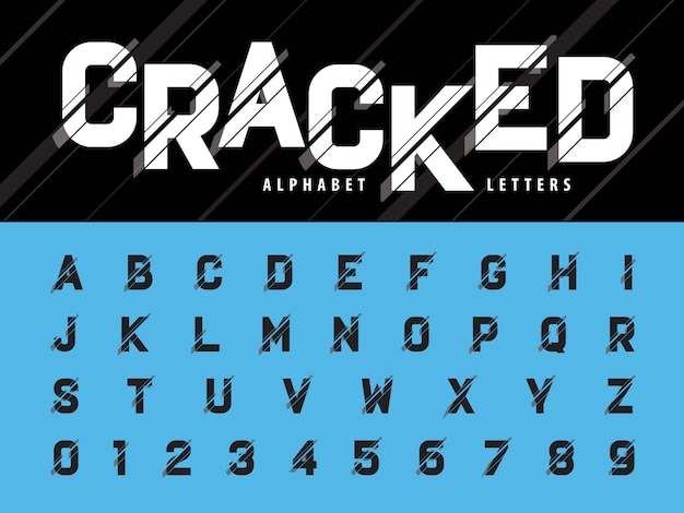 Vector of glitch modern alphabet letters and numbers