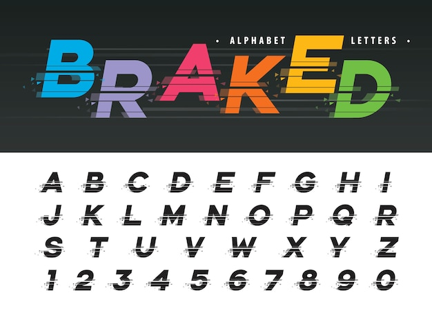 Vector of glitch modern alphabet letters
