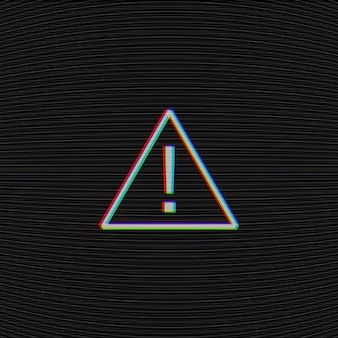 Vector glitched attention sign on black background with tv moire noise texture.