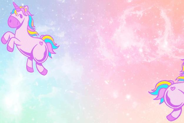 Вектор блестящие единорог розовые и синие красочные пастельные обои