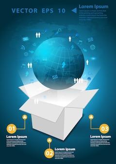 Vector globe and box