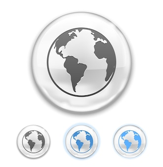 Vector globe button icon isolated on white