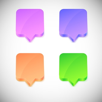 Vector glossy 3d speech bubbles.