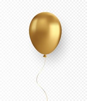 ホリデーカードの透明な背景に光沢のあるリアルな金の風船をベクトルします。