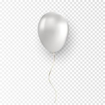 透明な背景に光沢のあるリアルな白い風船をベクトル