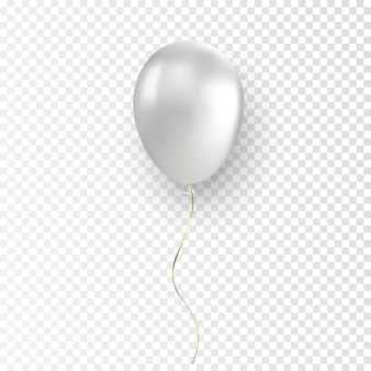 Vector glossy realistic white balloon on transparent background