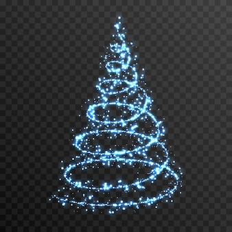 Vector glowing christmas tree on an isolated transparent background png blue dust magic spruce