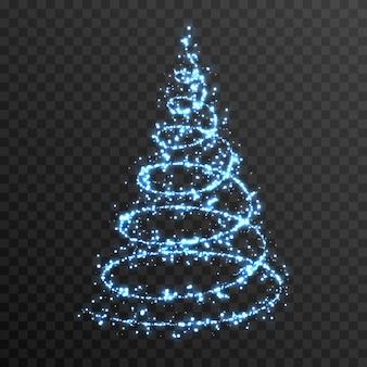 孤立した透明な背景の上のベクトル光るクリスマスツリーpng青いほこり魔法のトウヒ