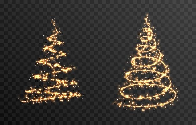 孤立した透明な背景の上のベクトル光るクリスマスツリーpngゴールドダストマジックスプルース