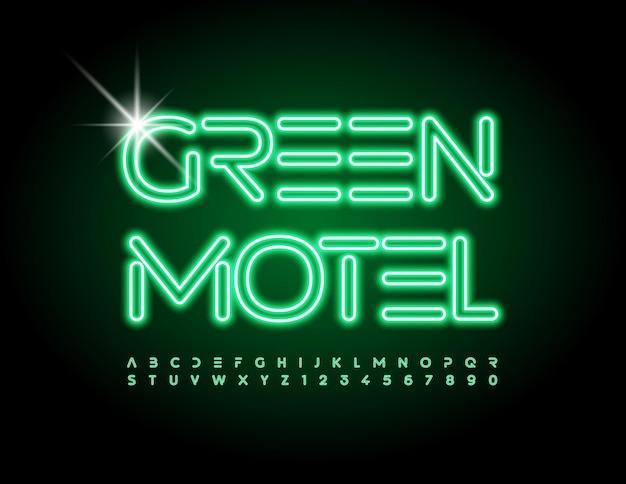ベクトル輝くエンブレムグリーンモーテル明るい未来的なフォントネオンアルファベット文字と数字のセット