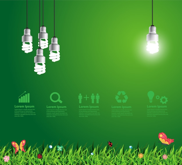 Vector glowing light bulb hanging above grass