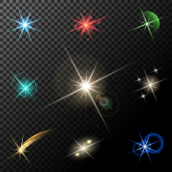 Vector glowing lights, stars and sparkles on transparent background
