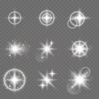 Vector glowing stars. light effect.