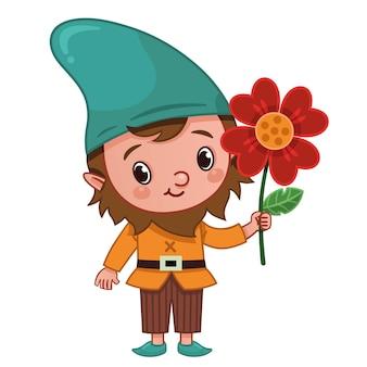 Векторный персонаж гнома держит цветок