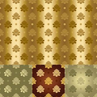 벡터 금색과 은색 원활한 꽃 패턴