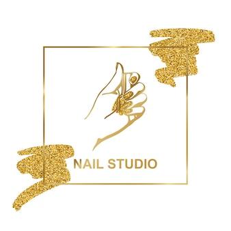 트렌디한 미니멀리스트 선형 스타일의 여성 손이 있는 벡터 골드 엠블럼. 미용실이나 매니큐어사의 로고. 핸드 크림 또는 매니큐어, 네일, 비누, 미용실 포장용 템플릿.