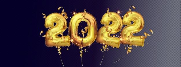 Вектор золотые фольгированные шары номер 2022. количество 2022 золотых фольгированных шаров, изолированных на темном фоне. рождественские и новогодние украшения. реалистичные 3d векторные иллюстрации
