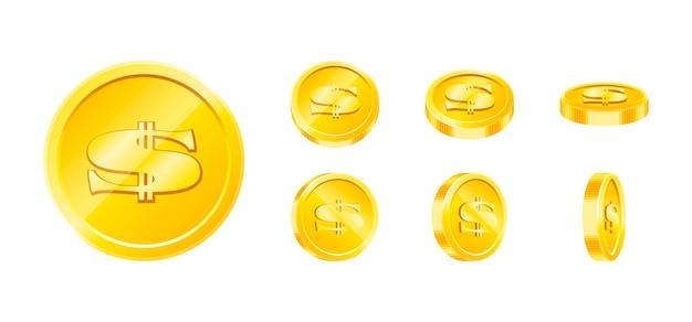 Набор векторных золотых игровых монет изолированные шаблоны дизайна eps10 иллюстрации