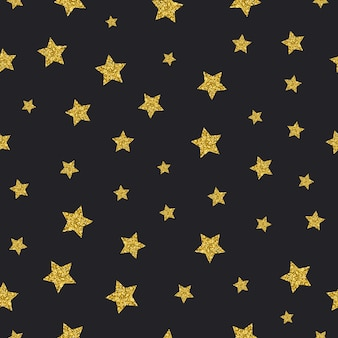Vector gold glitter stars seamless pattern