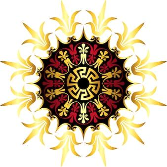 ベクトルゴールドギリシャ飾り蛇行