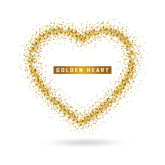 Vector gold heart on transparent