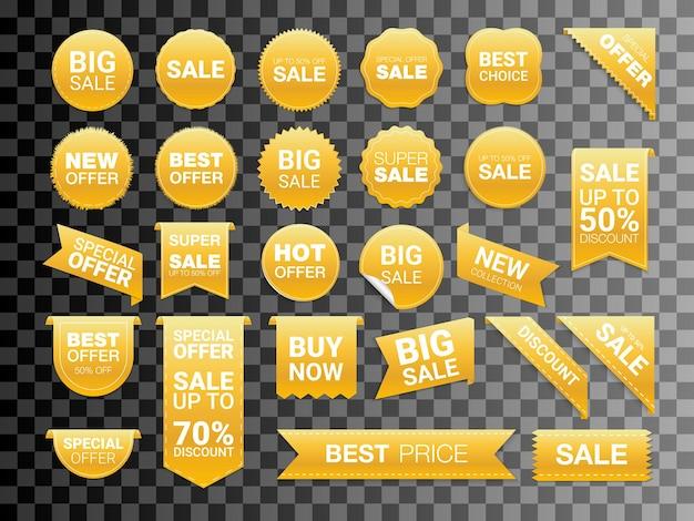 Векторные золотые этикетки, изолированные на белом фоне. распродажа, наклейки для веб-сайтов, коллекция значков нового предложения. плоские значки скидка и бирки. лучший выбор тегов. векторная иллюстрация.