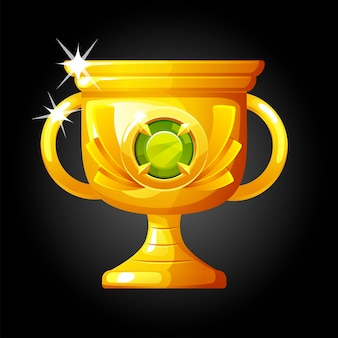 Vector gold luxury winner cup with diamond. illustration of an award for victory with a gem.