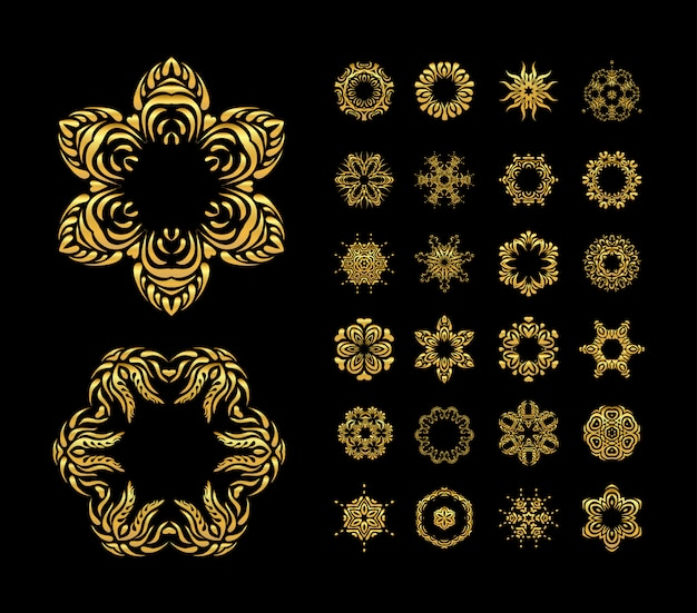 Vector gold mandala set