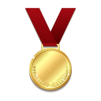 Vector gold medal on red ribbon.