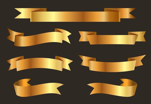 販売と割引のために設定されたベクトルゴールドリボン