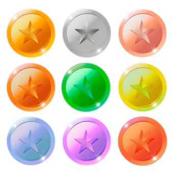 Vector gold, silver, bronze and platinum star medals