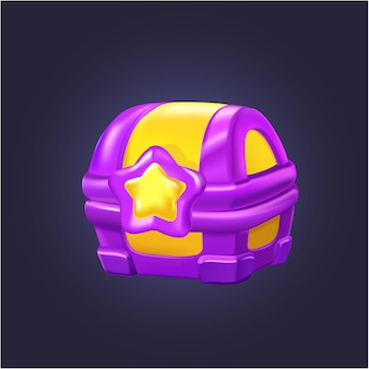 Vector gold treasure box for game