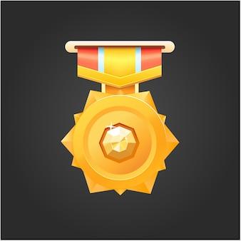 Вектор золотая медаль за победу в игре