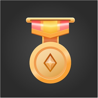 Vector gold victory reward medal for game