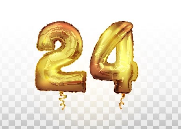 Vector golden 24 number twenty four metallic balloon. party decoration golden balloons. anniversary sign for happy holiday, celebration, birthday