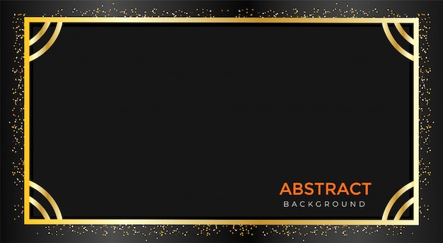 Vector golden black color abstract with glitter background