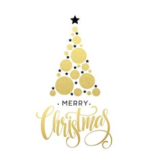 빛나는 원과 별으로 만든 벡터 황금 크리스마스 트리 그림. 메리 크리스마스 레터링 eps10