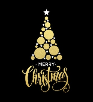 Vector golden christmas tree illustration made with glittering circle and star. merry christmas lettering eps10