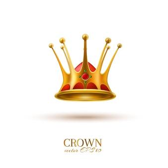 벡터 골든 크라운 3d 군주 왕과 차르 기호