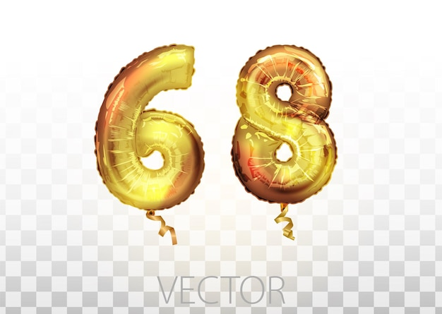 벡터 황금 호 일 번호 68 68 금속 풍선입니다. 파티 장식 황금 풍선입니다. 행복한 휴가, 축하, 생일을 위한 기념일 표시