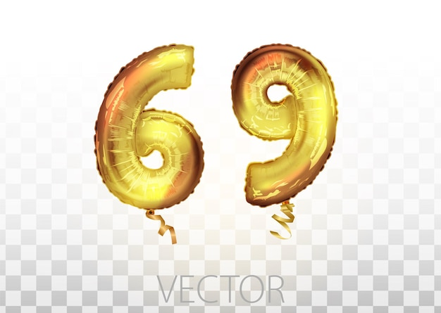 Vector golden foil number 69 sixty nine metallic balloon. party decoration golden balloons. anniversary sign for happy holiday, celebration, birthday